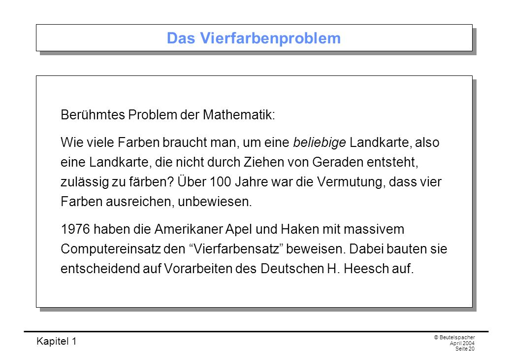 Kapitel 1 © Beutelspacher April 2004 Seite 20 Das Vierfarbenproblem Berühmtes Problem der Mathematik: Wie viele Farben braucht man, um eine beliebige