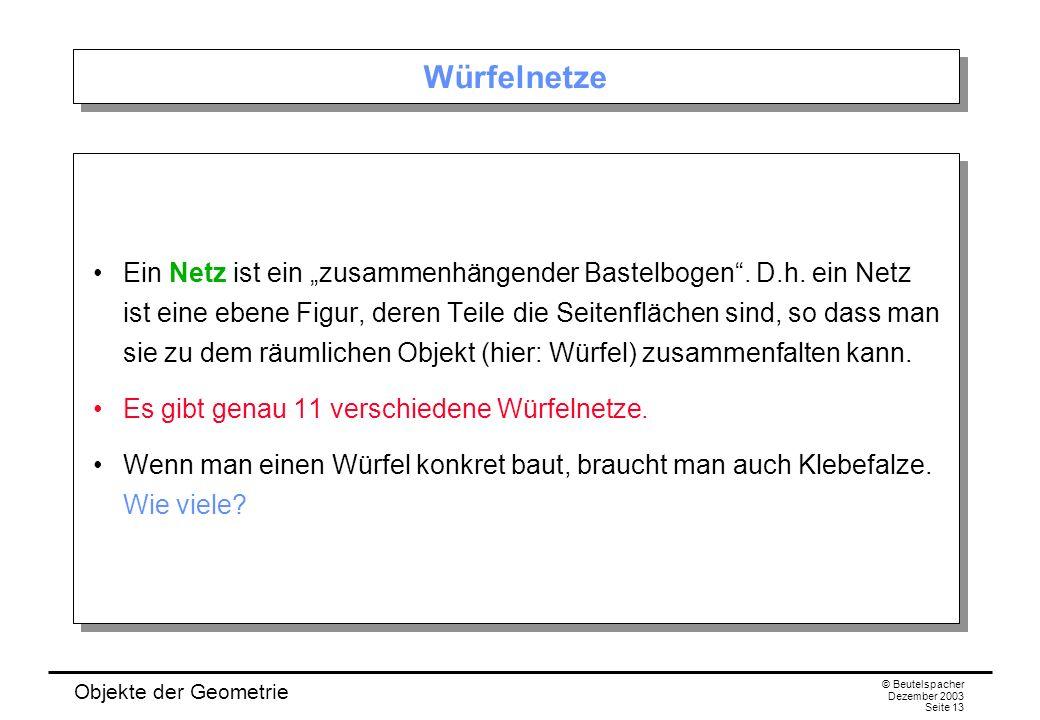 Objekte der Geometrie © Beutelspacher Dezember 2003 Seite 13 Würfelnetze Ein Netz ist ein zusammenhängender Bastelbogen.
