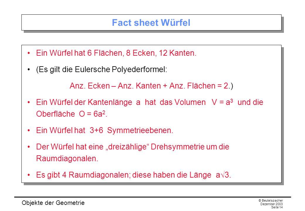 Objekte der Geometrie © Beutelspacher Dezember 2003 Seite 14 Fact sheet Würfel Ein Würfel hat 6 Flächen, 8 Ecken, 12 Kanten.