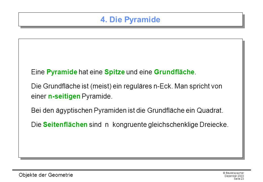 Objekte der Geometrie © Beutelspacher Dezember 2003 Seite 23 4.