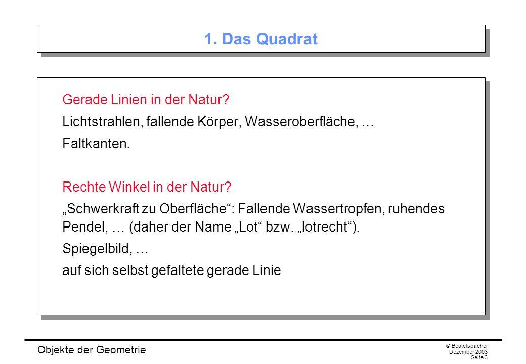 Objekte der Geometrie © Beutelspacher Dezember 2003 Seite 3 1.