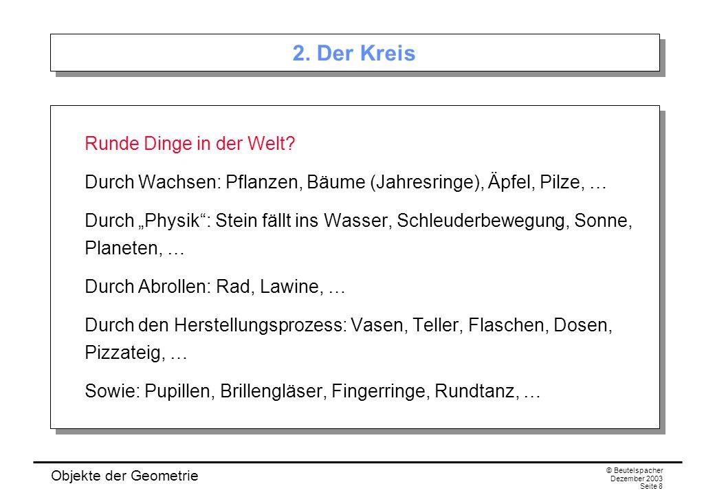 Objekte der Geometrie © Beutelspacher Dezember 2003 Seite 8 2.