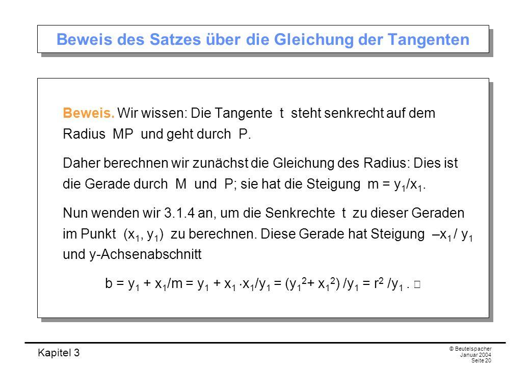 Kapitel 3 © Beutelspacher Januar 2004 Seite 20 Beweis des Satzes über die Gleichung der Tangenten Beweis. Wir wissen: Die Tangente t steht senkrecht a