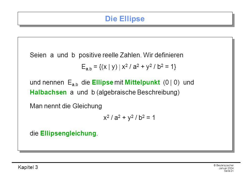 Kapitel 3 © Beutelspacher Januar 2004 Seite 21 Die Ellipse Seien a und b positive reelle Zahlen. Wir definieren E a,b = {(x | y) x 2 / a 2 + y 2 / b 2