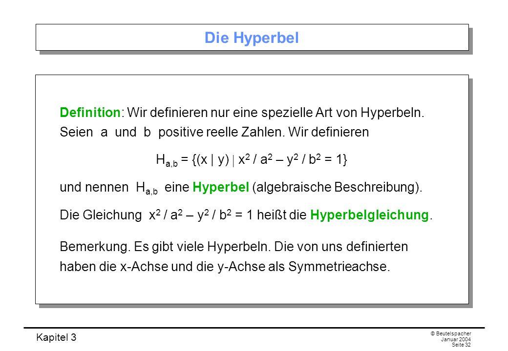 Kapitel 3 © Beutelspacher Januar 2004 Seite 32 Die Hyperbel Definition: Wir definieren nur eine spezielle Art von Hyperbeln. Seien a und b positive re