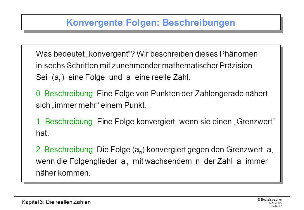Kapitel 3: Die reellen Zahlen © Beutelspacher Mai 2005 Seite 17 Konvergente Folgen: Beschreibungen Was bedeutet konvergent.