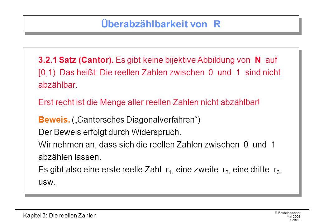 Kapitel 3: Die reellen Zahlen © Beutelspacher Mai 2005 Seite 8 Überabzählbarkeit von R 3.2.1 Satz (Cantor).