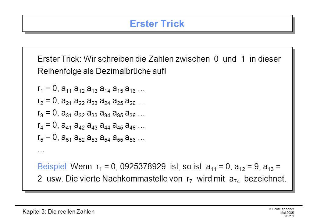 Kapitel 3: Die reellen Zahlen © Beutelspacher Mai 2005 Seite 9 Erster Trick Erster Trick: Wir schreiben die Zahlen zwischen 0 und 1 in dieser Reihenfolge als Dezimalbrüche auf.