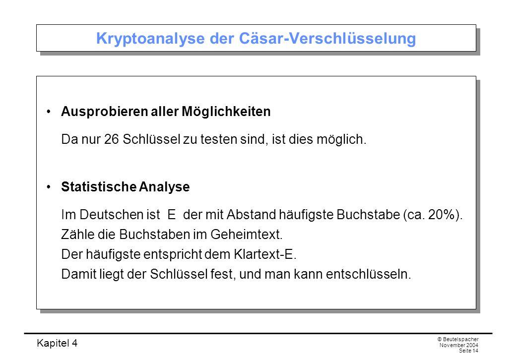 Kapitel 4 © Beutelspacher November 2004 Seite 14 Kryptoanalyse der Cäsar-Verschlüsselung Ausprobieren aller Möglichkeiten Da nur 26 Schlüssel zu teste