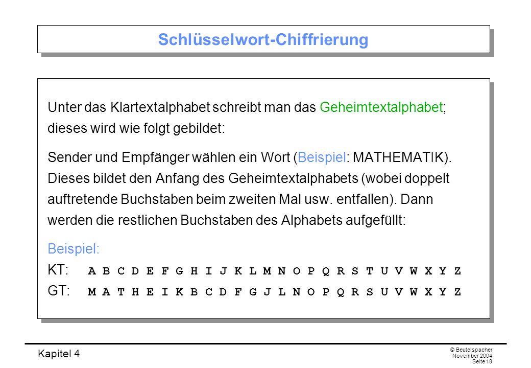 Kapitel 4 © Beutelspacher November 2004 Seite 18 Schlüsselwort-Chiffrierung Unter das Klartextalphabet schreibt man das Geheimtextalphabet; dieses wir