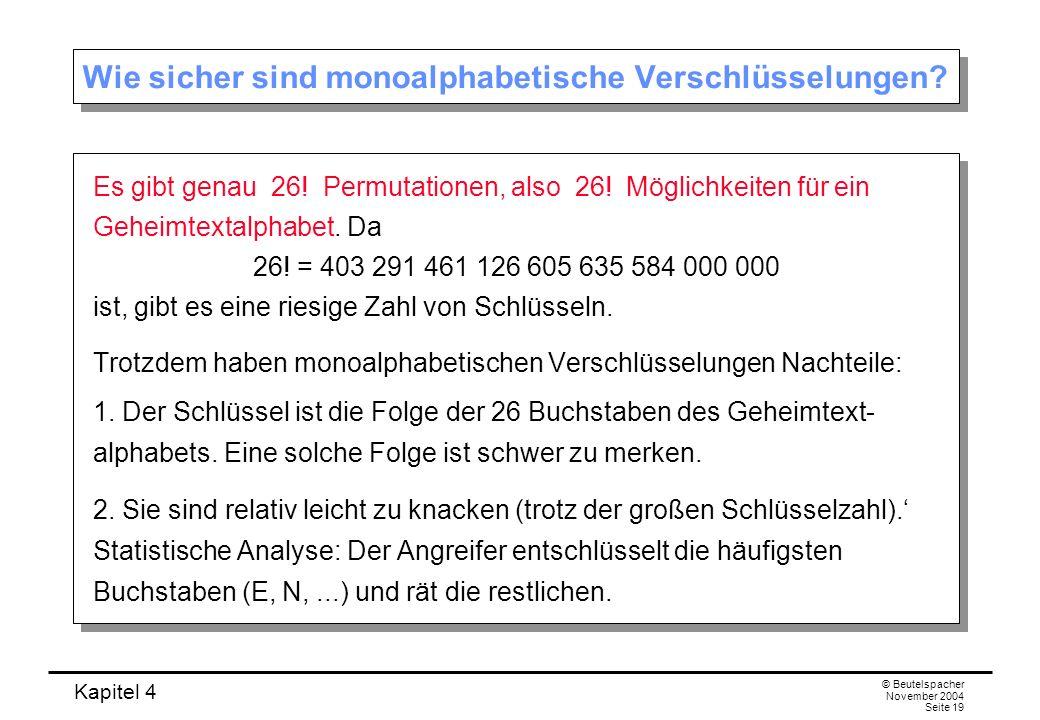 Kapitel 4 © Beutelspacher November 2004 Seite 19 Wie sicher sind monoalphabetische Verschlüsselungen? Es gibt genau 26! Permutationen, also 26! Möglic