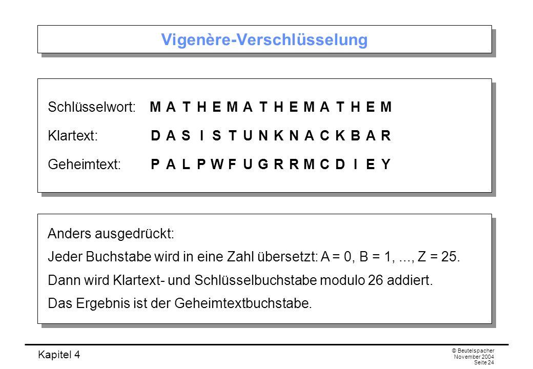 Kapitel 4 © Beutelspacher November 2004 Seite 24 Vigenère-Verschlüsselung Schlüsselwort:MATHEMATHEMATHEM Klartext:DASISTUNKNACKBAR Geheimtext:PALPWFUG