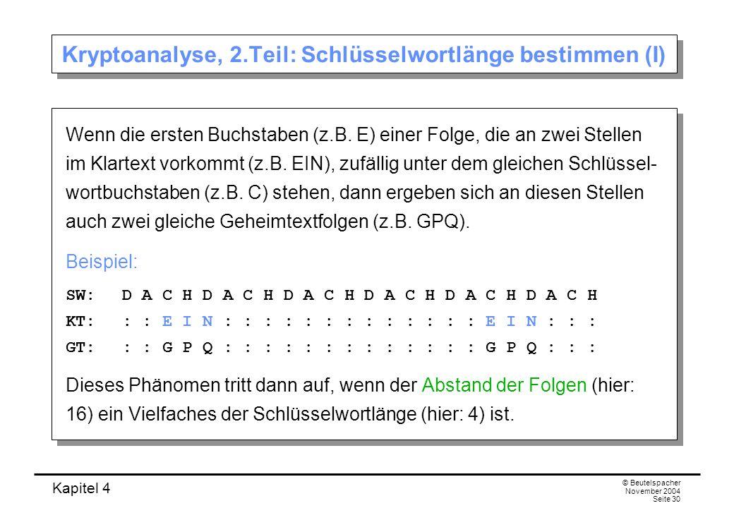 Kapitel 4 © Beutelspacher November 2004 Seite 30 Kryptoanalyse, 2.Teil: Schlüsselwortlänge bestimmen (I) Wenn die ersten Buchstaben (z.B. E) einer Fol