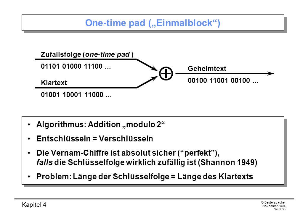 Kapitel 4 © Beutelspacher November 2004 Seite 35 One-time pad (Einmalblock) Algorithmus: Addition modulo 2 Entschlüsseln = Verschlüsseln Die Vernam-Ch