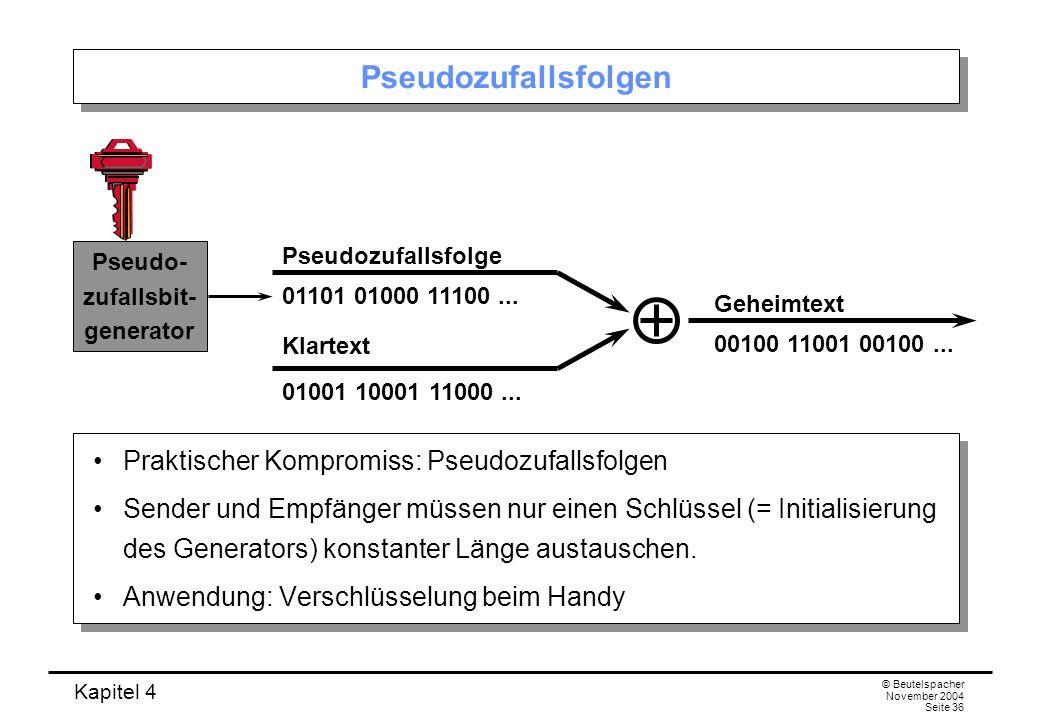 Kapitel 4 © Beutelspacher November 2004 Seite 36 Pseudozufallsfolgen Praktischer Kompromiss: Pseudozufallsfolgen Sender und Empfänger müssen nur einen