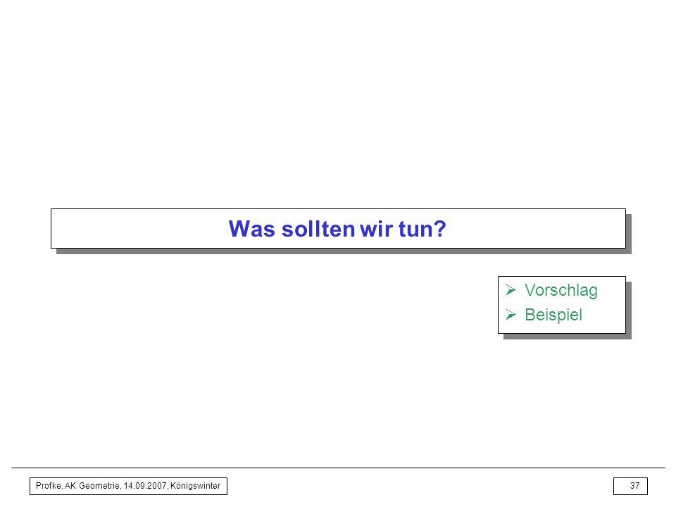 Profke, AK Geometrie, 14.09.2007, Königswinter36 Bildung und Unterricht Thesen (1)Jeder Königsweg zum erfolgreicheren (!!!) Mathematik-, also auch Geo