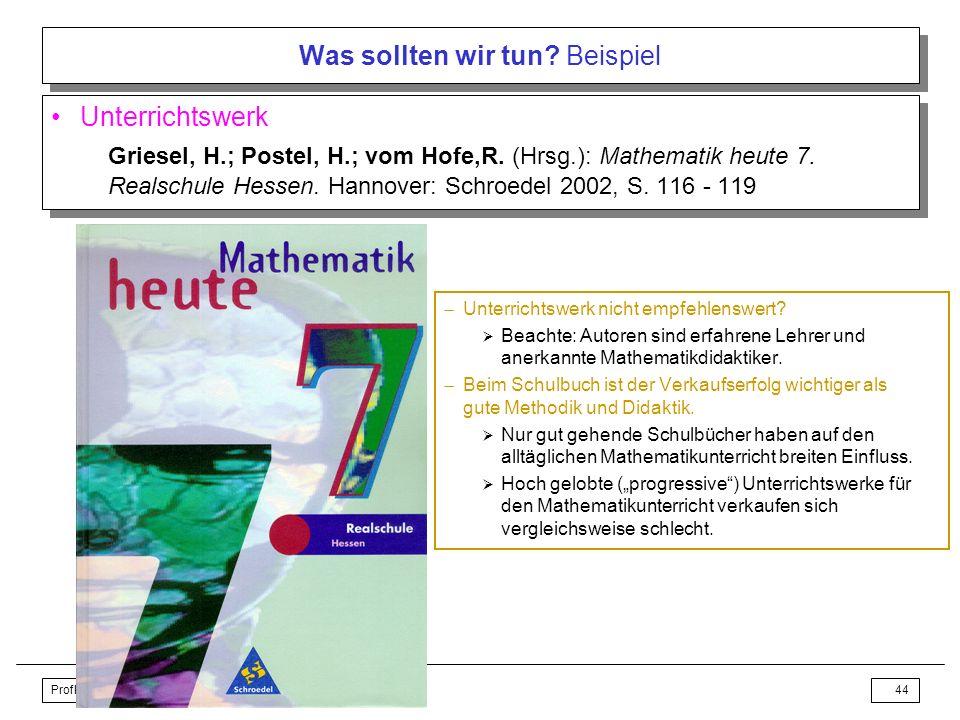 Profke, AK Geometrie, 14.09.2007, Königswinter43 Was sollten wir tun? Beispiel Winkelsumme in Dreiecken Realschule Jahrgangsstufe 7 Vorbemerkungen –Be