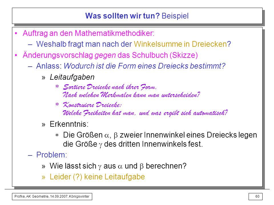 Profke, AK Geometrie, 14.09.2007, Königswinter59 Was sollten wir tun? Beispiel Änderungsvorschlag mit dem Schulbuch –Parkettieren mit Dreiecken »zurüc