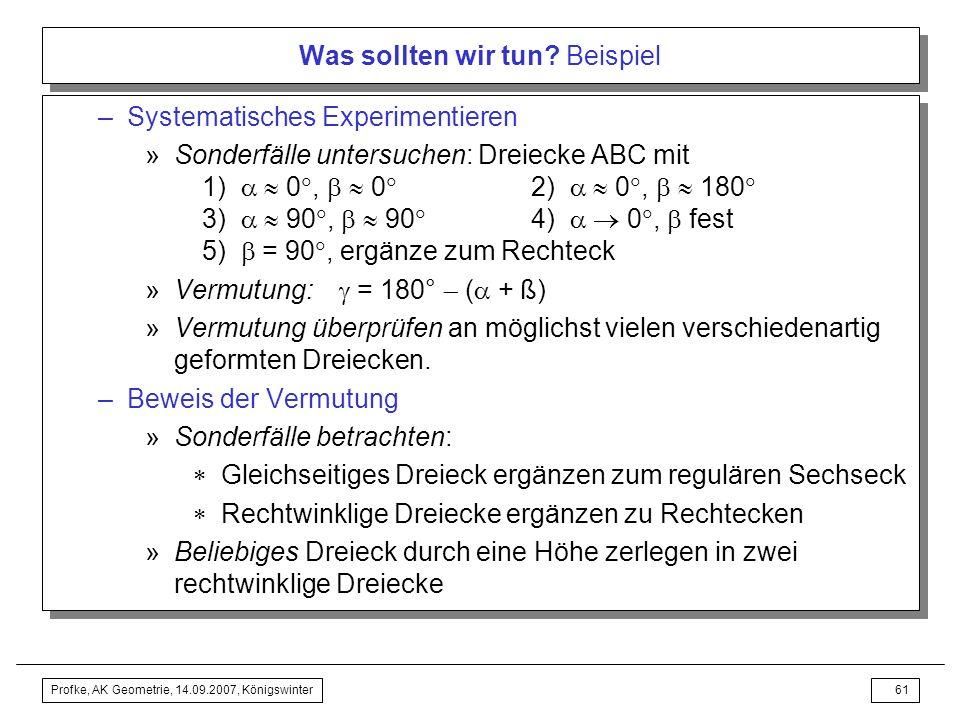 Profke, AK Geometrie, 14.09.2007, Königswinter60 Was sollten wir tun? Beispiel Auftrag an den Mathematikmethodiker: –Weshalb fragt man nach der Winkel