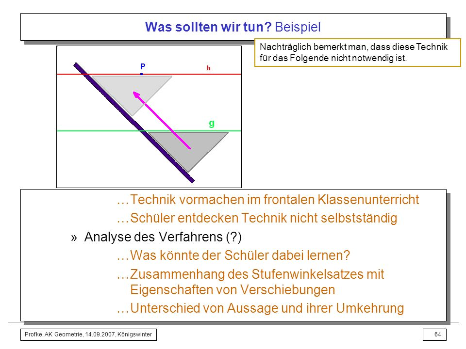 Profke, AK Geometrie, 14.09.2007, Königswinter63 Was sollten wir tun? Beispiel Kommentierter Unterrichtsvorschlag mit dem Schulbuch Didaktisch-methodi
