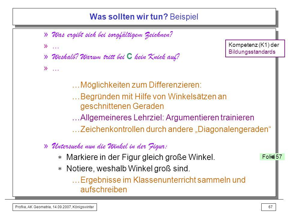 Profke, AK Geometrie, 14.09.2007, Königswinter66 Was sollten wir tun? Beispiel » Wir prüfen, ob wir sorgfältig konstruiert haben durch eine Zeichenkon
