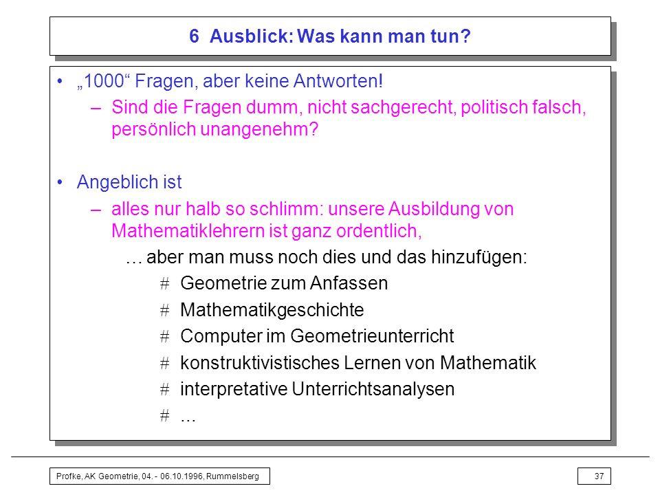 Profke, AK Geometrie, 04.- 06.10.1996, Rummelsberg37 6 Ausblick: Was kann man tun.