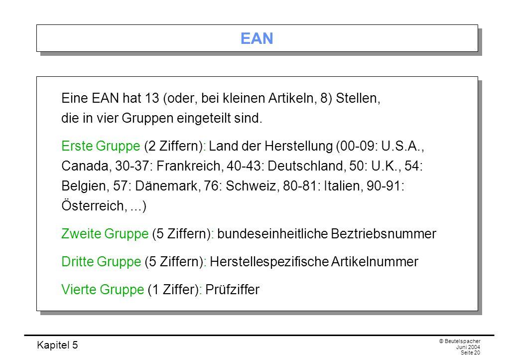 Kapitel 5 © Beutelspacher Juni 2004 Seite 20 EAN Eine EAN hat 13 (oder, bei kleinen Artikeln, 8) Stellen, die in vier Gruppen eingeteilt sind. Erste G