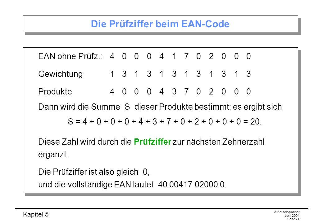 Kapitel 5 © Beutelspacher Juni 2004 Seite 21 Die Prüfziffer beim EAN-Code EAN ohne Prüfz.:400041702000 Gewichtung131313131313 Produkte400043702000 Dan