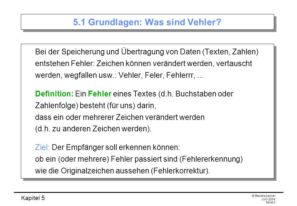 Kapitel 5 © Beutelspacher Juni 2004 Seite 3 5.1 Grundlagen: Was sind Vehler? Bei der Speicherung und Übertragung von Daten (Texten, Zahlen) entstehen
