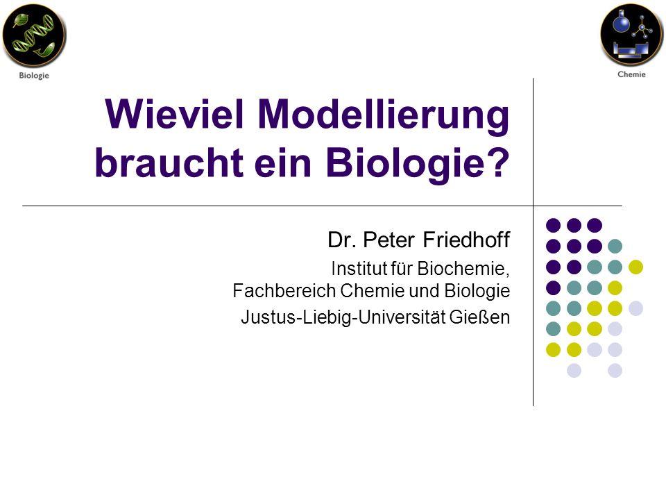 Wieviel Modellierung braucht ein Biologie? Dr. Peter Friedhoff Institut für Biochemie, Fachbereich Chemie und Biologie Justus-Liebig-Universität Gieße