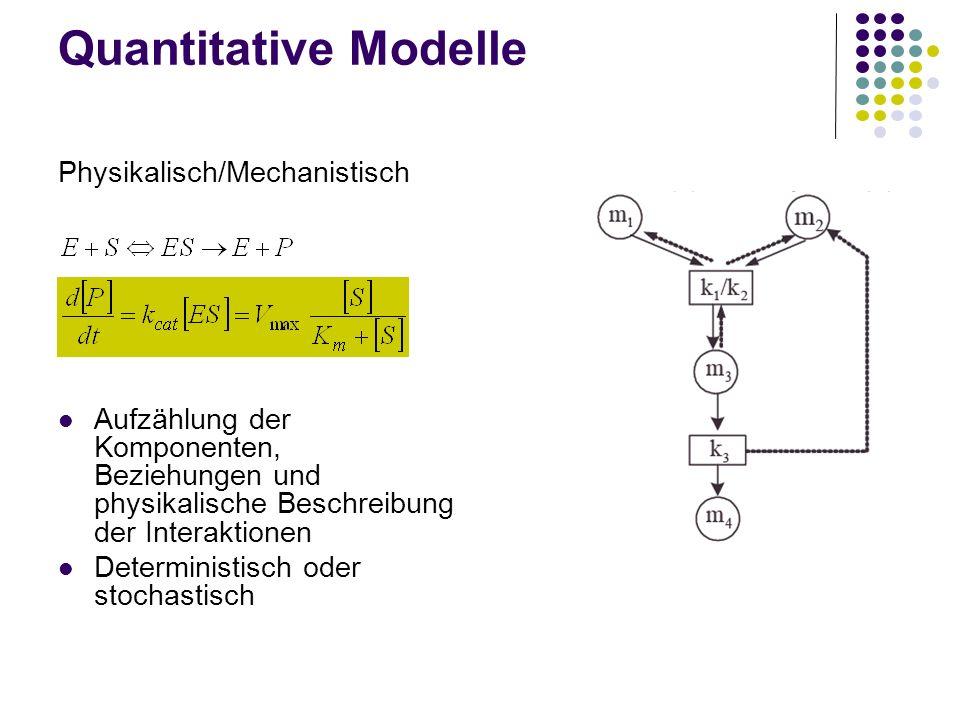 Quantitative Modelle Physikalisch/Mechanistisch Aufzählung der Komponenten, Beziehungen und physikalische Beschreibung der Interaktionen Deterministis