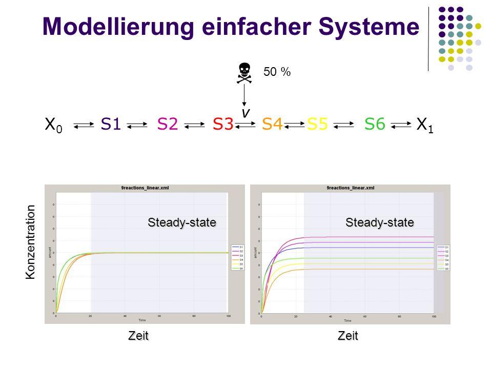 Modellierung einfacher Systeme 50 % X0X0 S1S2X1X1 S3S4S5S6 v Konzentration Zeit Zeit Steady-stateSteady-state