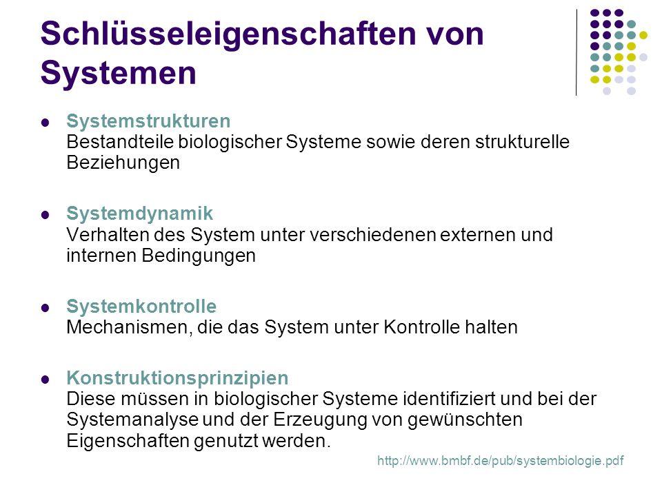 Schlüsseleigenschaften von Systemen Systemstrukturen Bestandteile biologischer Systeme sowie deren strukturelle Beziehungen Systemdynamik Verhalten de