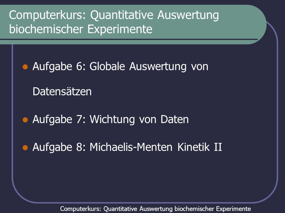 Computerkurs: Quantitative Auswertung biochemischer Experimente Aufgabe 6: Globale Auswertung von Datensätzen Aufgabe 7: Wichtung von Daten Aufgabe 8: Michaelis-Menten Kinetik II