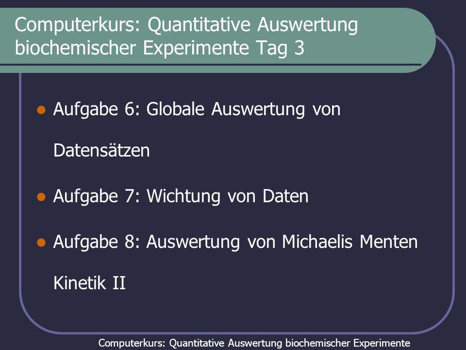 Computerkurs: Quantitative Auswertung biochemischer Experimente Computerkurs: Quantitative Auswertung biochemischer Experimente Tag 3 Aufgabe 6: Globale Auswertung von Datensätzen Aufgabe 7: Wichtung von Daten Aufgabe 8: Auswertung von Michaelis Menten Kinetik II