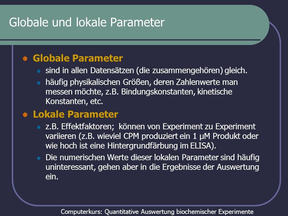 Computerkurs: Quantitative Auswertung biochemischer Experimente Globale und lokale Parameter Die Unterscheidung in lokale und globale Parameter ist dann wichtig wenn man mehrere Datensätze zu einer Messung gemeinsam auswerten muss: die Zahlenwerte von globalen Parametern müssen in allen Fällen gleich sein, die von lokalen dürfen von Datensatz zu Datensatz variieren.