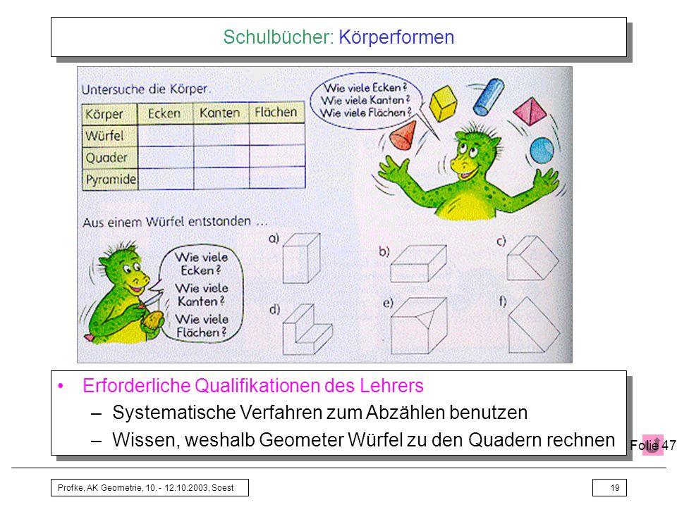 Profke, AK Geometrie, 10. - 12.10.2003, Soest19 Schulbücher: Körperformen Erforderliche Qualifikationen des Lehrers –Systematische Verfahren zum Abzäh