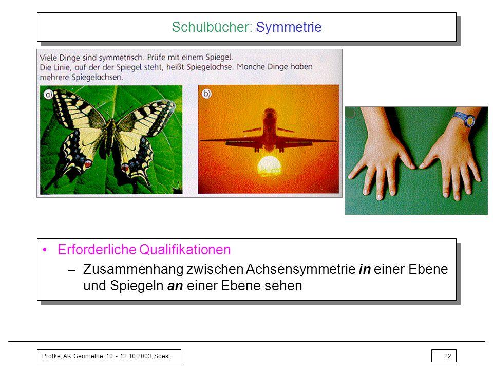 Profke, AK Geometrie, 10. - 12.10.2003, Soest22 Schulbücher: Symmetrie Erforderliche Qualifikationen –Zusammenhang zwischen Achsensymmetrie in einer E