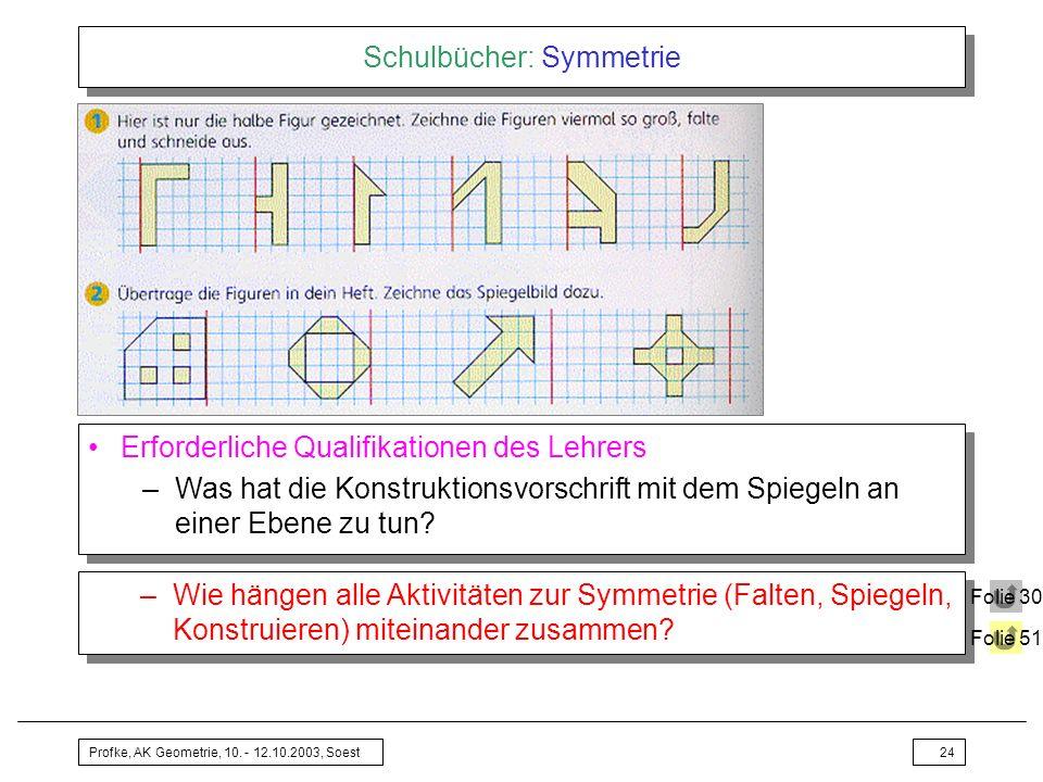 Profke, AK Geometrie, 10. - 12.10.2003, Soest24 Schulbücher: Symmetrie Erforderliche Qualifikationen des Lehrers –Was hat die Konstruktionsvorschrift