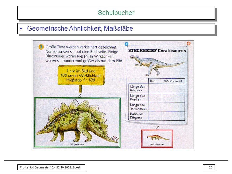 Profke, AK Geometrie, 10. - 12.10.2003, Soest25 Schulbücher Geometrische Ähnlichkeit, Maßstäbe
