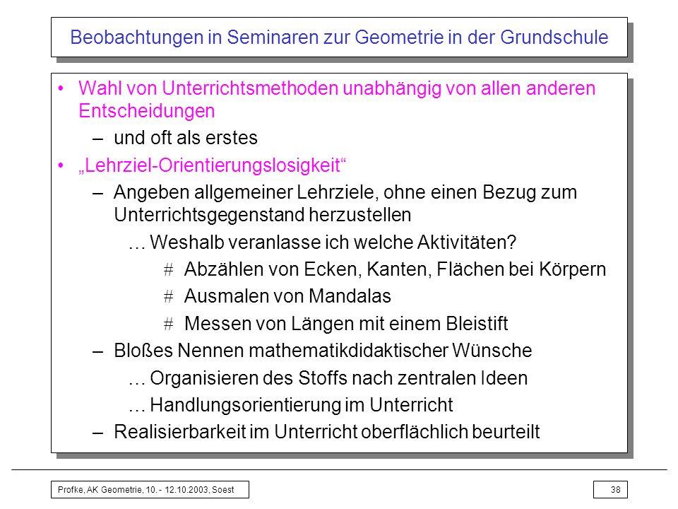 Profke, AK Geometrie, 10. - 12.10.2003, Soest38 Beobachtungen in Seminaren zur Geometrie in der Grundschule Wahl von Unterrichtsmethoden unabhängig vo