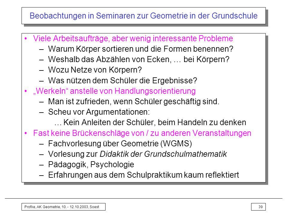 Profke, AK Geometrie, 10. - 12.10.2003, Soest39 Beobachtungen in Seminaren zur Geometrie in der Grundschule Viele Arbeitsaufträge, aber wenig interess