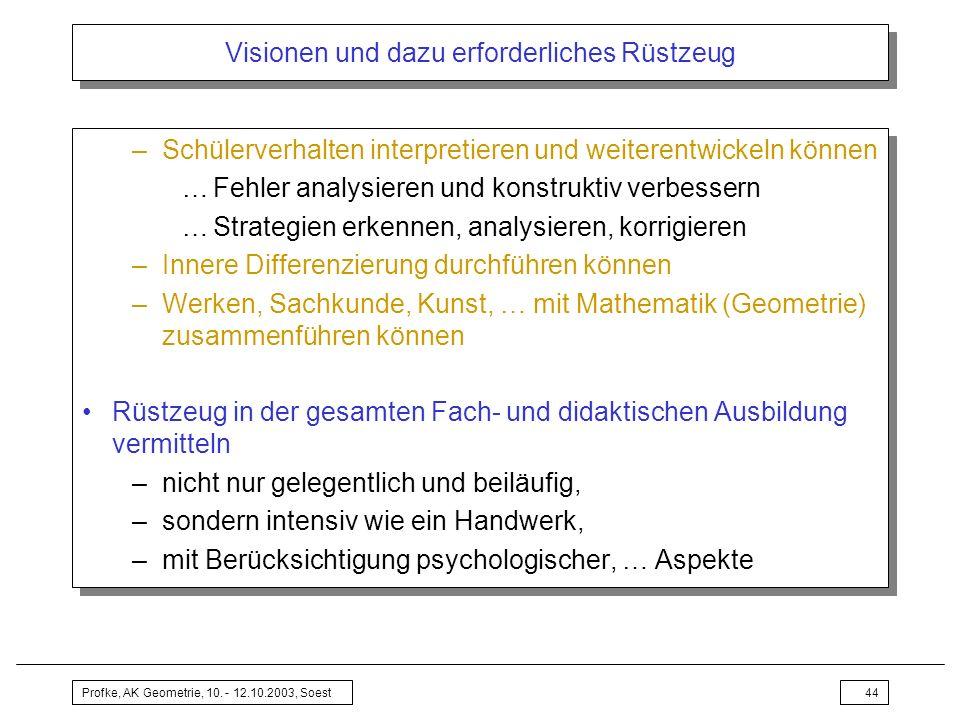 Profke, AK Geometrie, 10. - 12.10.2003, Soest44 Visionen und dazu erforderliches Rüstzeug –Schülerverhalten interpretieren und weiterentwickeln können