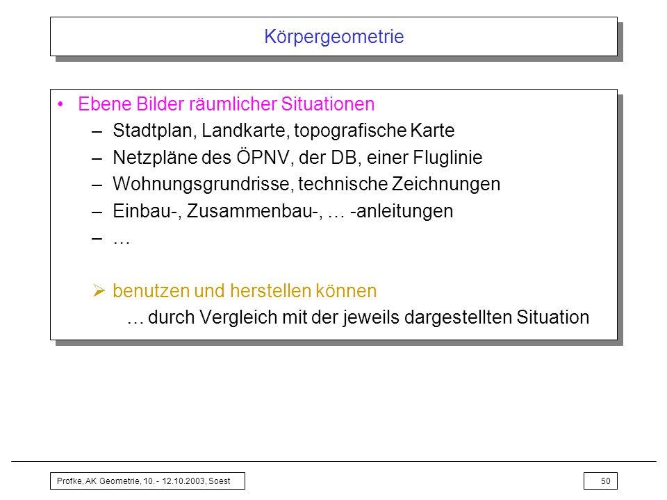 Profke, AK Geometrie, 10. - 12.10.2003, Soest50 Körpergeometrie Ebene Bilder räumlicher Situationen –Stadtplan, Landkarte, topografische Karte –Netzpl