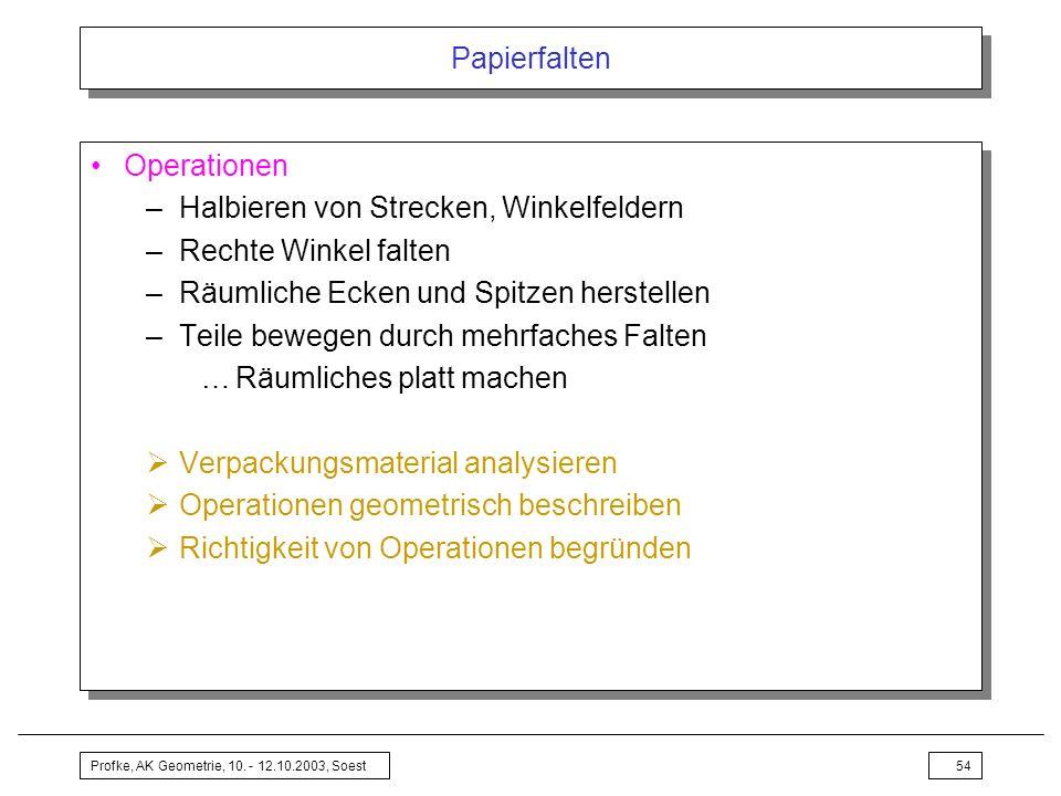 Profke, AK Geometrie, 10. - 12.10.2003, Soest54 Papierfalten Operationen –Halbieren von Strecken, Winkelfeldern –Rechte Winkel falten –Räumliche Ecken