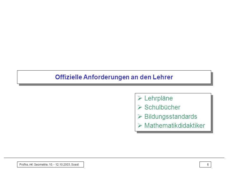 Profke, AK Geometrie, 10. - 12.10.2003, Soest6 Offizielle Anforderungen an den Lehrer Lehrpläne Schulbücher Bildungsstandards Mathematikdidaktiker Leh