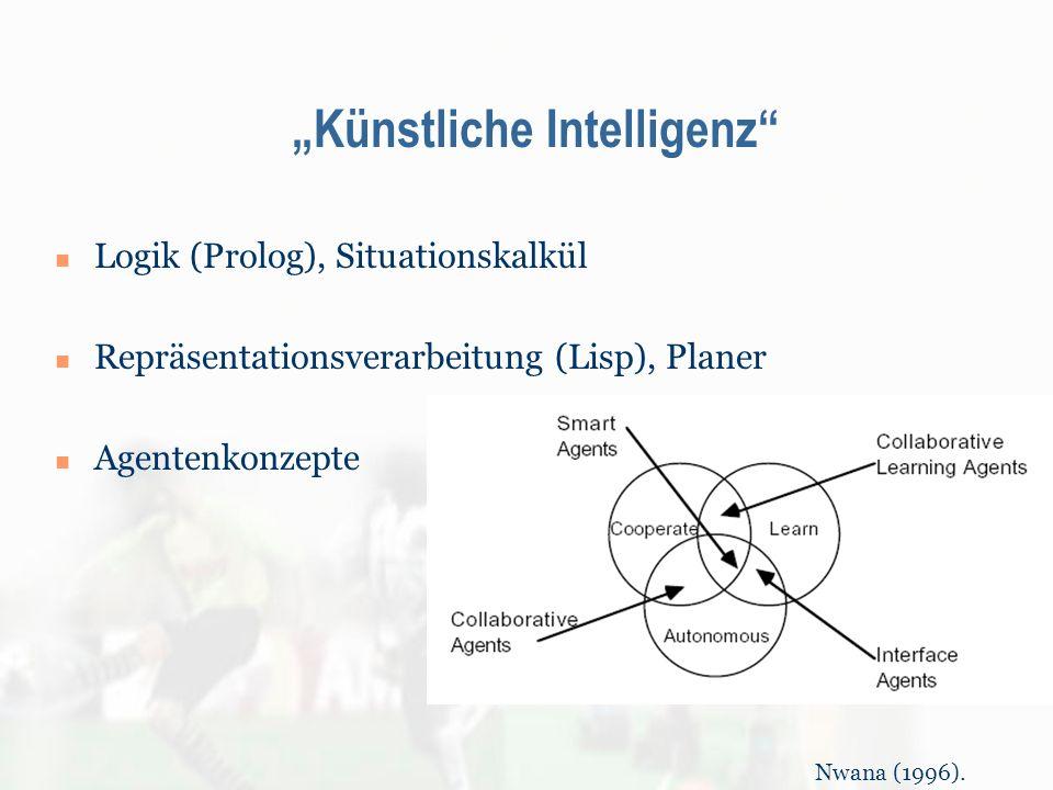 Künstliche Intelligenz Logik (Prolog), Situationskalkül Repräsentationsverarbeitung (Lisp), Planer Agentenkonzepte Nwana (1996).