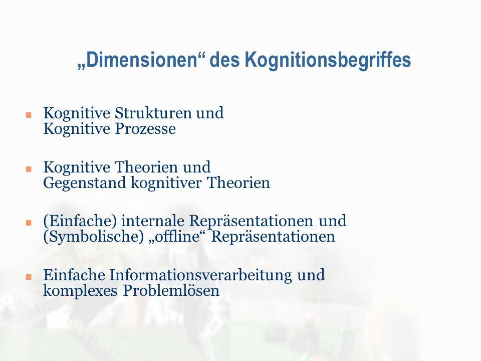 Dimensionen des Kognitionsbegriffes Kognitive Strukturen und Kognitive Prozesse Kognitive Theorien und Gegenstand kognitiver Theorien (Einfache) inter