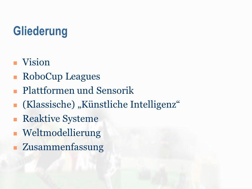 Gliederung Vision RoboCup Leagues Plattformen und Sensorik (Klassische) Künstliche Intelligenz Reaktive Systeme Weltmodellierung Zusammenfassung