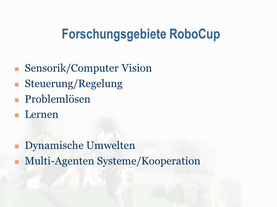 Forschungsgebiete RoboCup Sensorik/Computer Vision Steuerung/Regelung Problemlösen Lernen Dynamische Umwelten Multi-Agenten Systeme/Kooperation